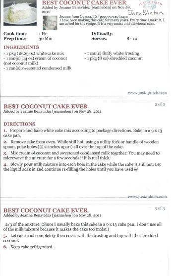 Best Coconut Cake ever-Winton