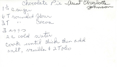 Chocolate Pie-Aunt Charlotte Johnson