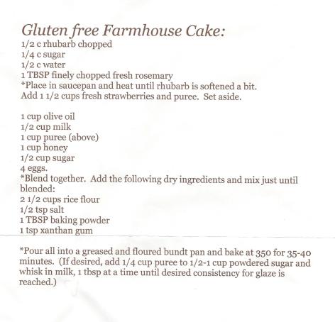 Gluten free Farmhouse Cake