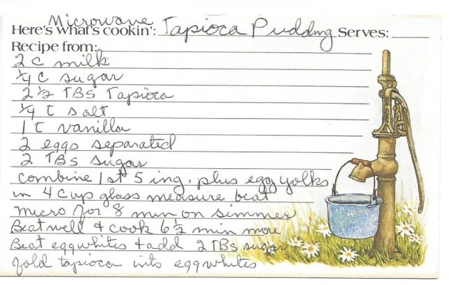 Microwave Tapico Pudding
